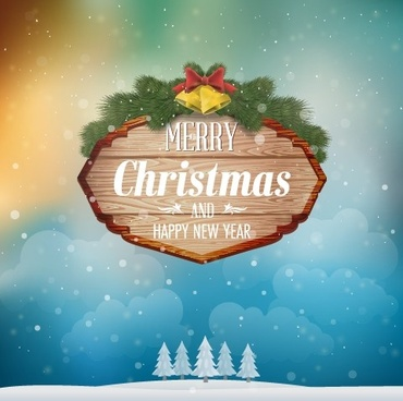 wooden christmas label and winter background vector