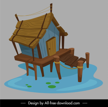 wooden cottage icon stilts stype sketch classical decor