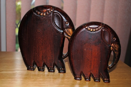 wooden elephants