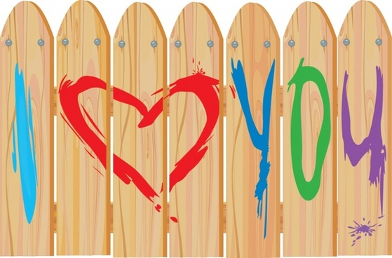love background wooden fence handdrawn painted texts decor
