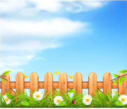 wooden fence with nature vector background