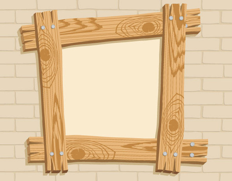 wooden frame no the wall vector