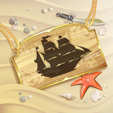 wooden pirate tag vector