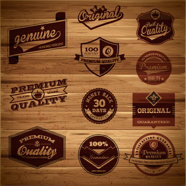 wooden retro label collection