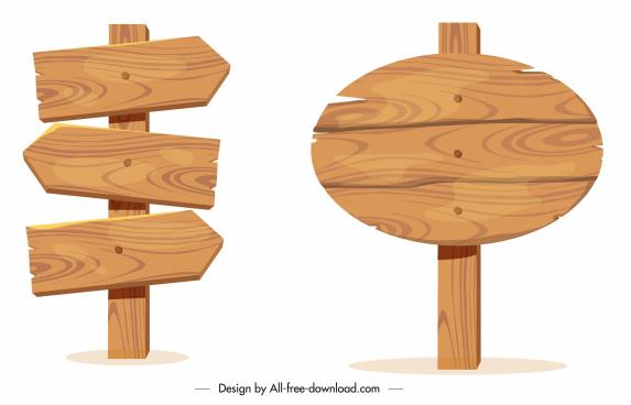 wooden sign templates vintage planks sketch