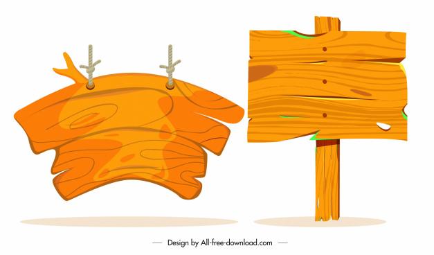 wooden signboard templates retro planks design