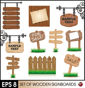 wooden signboards vector background