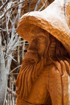 wooden statue of a man