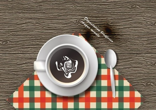 wooden table and coffee cups vector