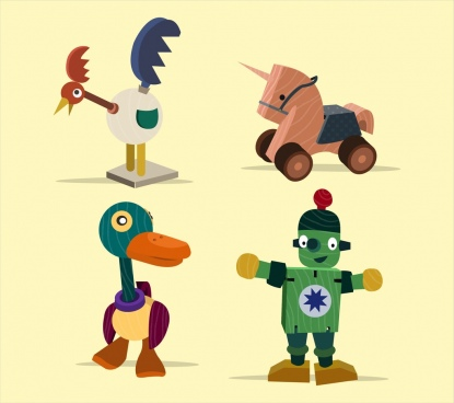 wooden toys icons collection 3d colored design