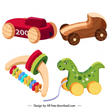 wooden toys icons modern colorful 3d sketch