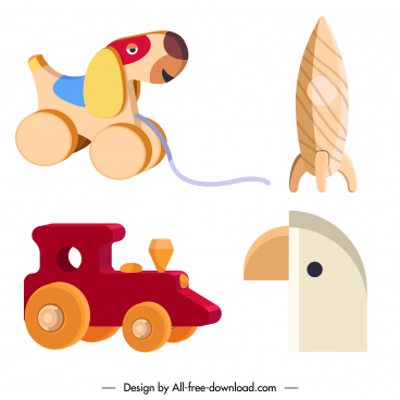 wooden toys icons shiny colored 3d sketch