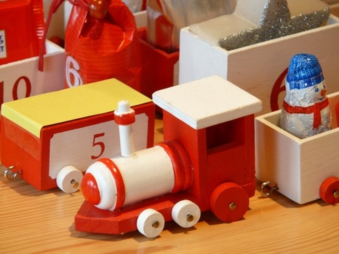 wooden train toys advent calendar