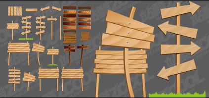 Wood-grain arrow signs vector material