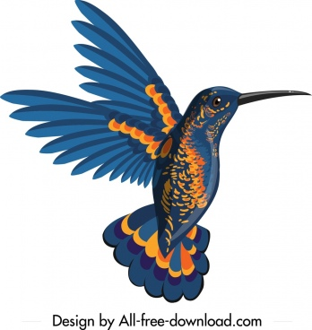 woodpecker icon fly gesture design blue orange decor