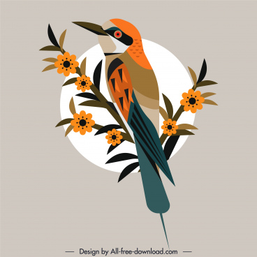 woodpecker painting flat colorful retro design