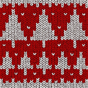 woolen pattern fir tree sketch red white decor