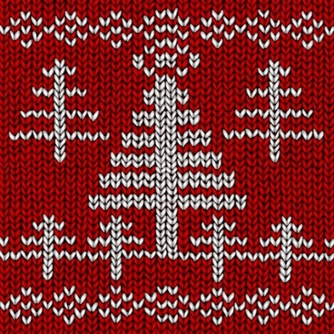 woolen pattern tree sketch classical red white decor