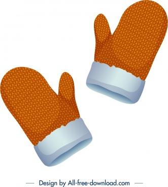 woolen gloves icons orange mockup design