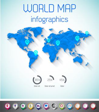 word map infographic with pin