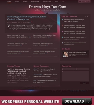 WordPress Personal Website PSD