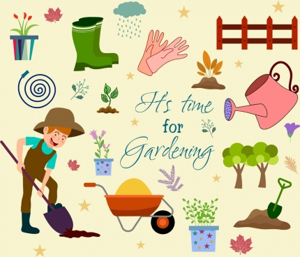 work banner gardening theme design elements decor