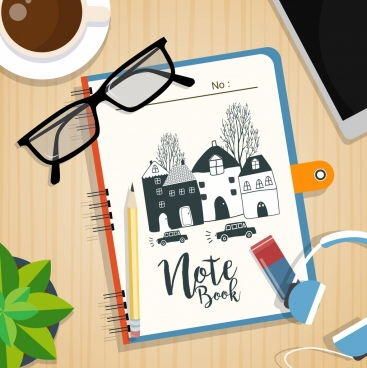 work desk background notebook pencil glasses coffee icons
