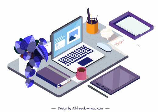 work desk template modern colorful 3d sketch