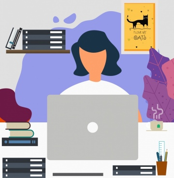 work place background working woman icon