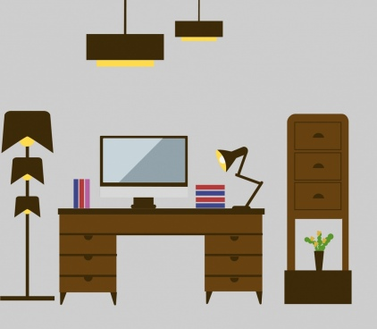 work place furnitures scheme colored flat design