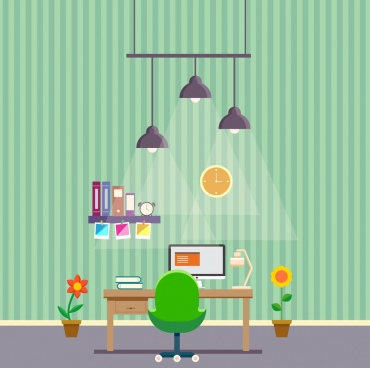 work space decoration drawing lights desk chair icons