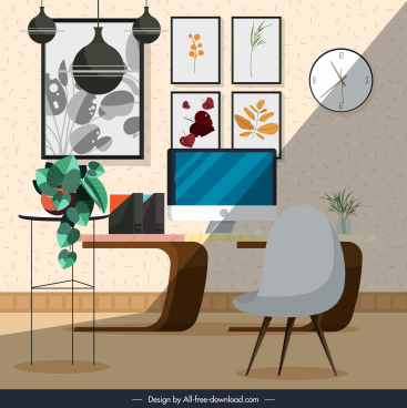 work space template modern cosy design