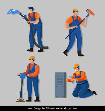 worker job icons cartoon characters sketch