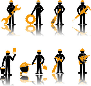 worker with repair service vector