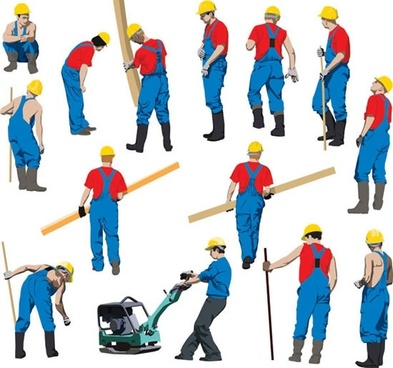 male workers icons colorful sketch cartoon characters