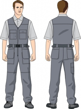 male worker icons cartoon character sketch