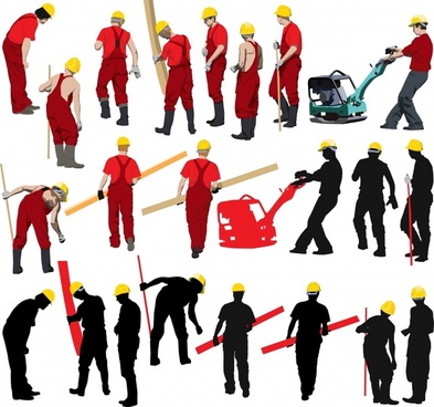 civil workers icons colored silhouettes cartoon characters