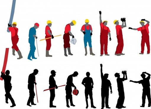 construction worker icons cartoon sketch silhouette design