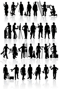 workers icons black silhouettes design