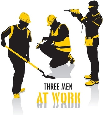 workers vector silhouette
