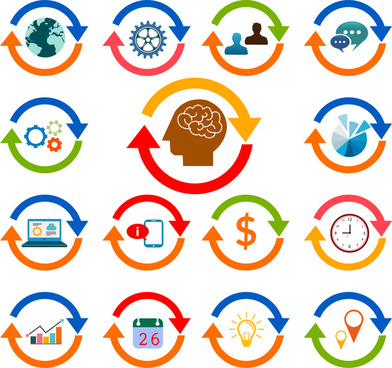 working brain vector illustration with circle icons