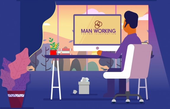 working drawing man computer workplace icons colored cartoon