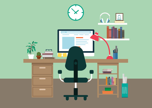 working place vector illustration with colored style