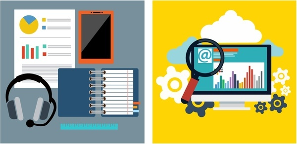 working tools illustration with office elements