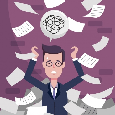 workload background stressed man flying paper icons