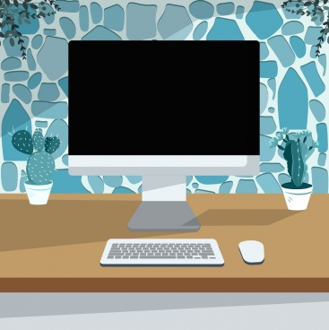 workplace background computer screen keyboard mouse icons decor