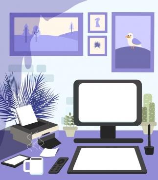workplace background desk device icons violet decor