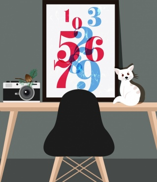 workplace corner drawing numbers decoration cat camera icons