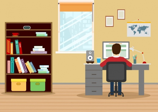workplace decoration drawing shelf desk human icons