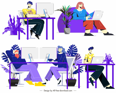 workplace icons colorful flat cartoon characters sketch